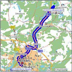 Kartenausschnitt mit Darstellung des Anfahrtweges mit dem Auto